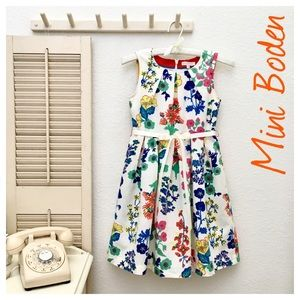 Mini Boden Girls 9/10 Year Colorful Floral Dress